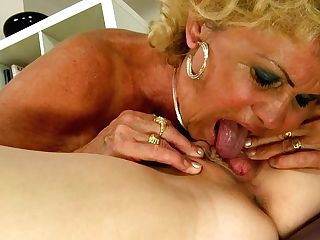 Exotic Pallid Teeny Blondie Wears Belt Dick And Makes Old Bitch...