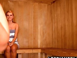 Hot Twat Playing With Melissa And Jessie In The Sauna